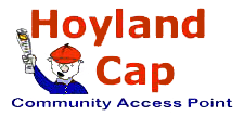 Website Logo Hoylad CAP Cartoon image of a paper boy waving paper.